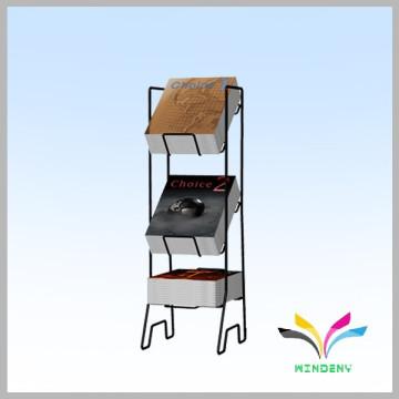 New design fashion black 3 tiers sturdy metal free standing comic book display rack