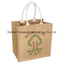 Sac à provisions en jute naturelle réutilisable écologique personnalisé