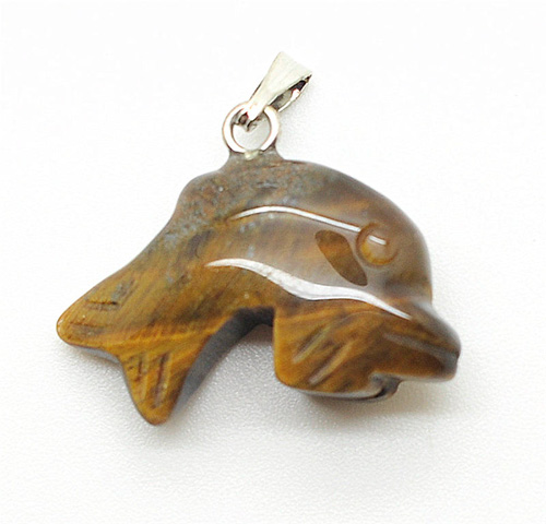 Dolphin Shape Yellow Tiger eye pendant