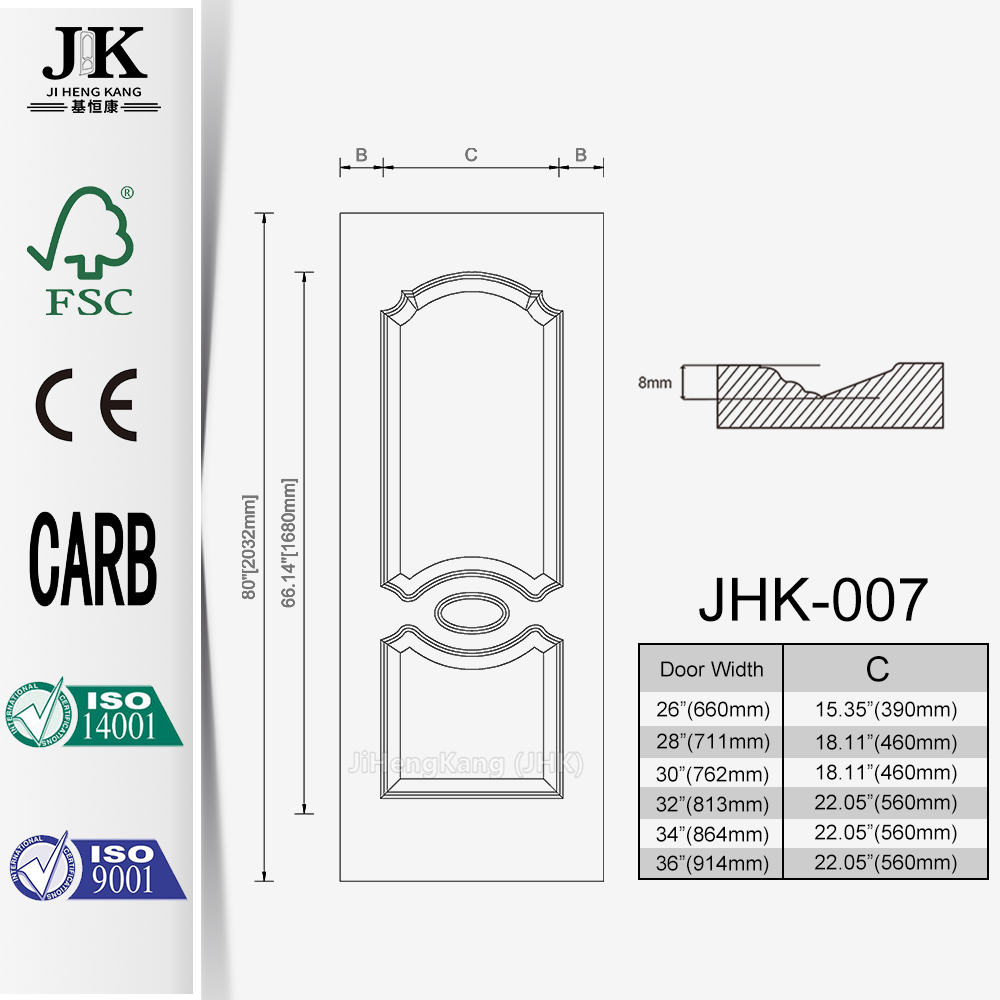 JHK-Home Depot Plywood EEV-ASH HDF Door Skin