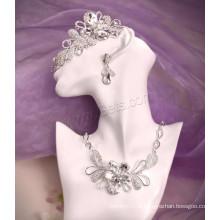 Zinco liga jóias prata strass cor chapeado conjunto de jóias nupcial