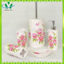 Neuer Großhandelsblumen-Abziehbild 4pc keramischer Badezimmersatz, Abziehbild schöne Blumen-keramische Badezimmer-Sätze