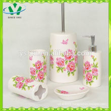 New Wholesale Flower Decal 4pc ceramic bathroom set , Decal beautiful flower ceramic bathroom sets