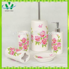 Новый оптовый цветок Decal 4pc керамический набор для ванной комнаты, деколь красивый цветок керамической ванной наборы