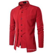 New Men′s Fake Two-Piece Double Placket Slim Shirt Korean Clothes