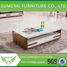 2014 New design glass top MDF veneer coffee table