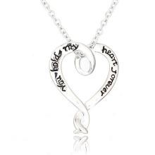 Письмо высокого качества ожерелье моды в нержавеющей стали большое серебряное ожерелье сердца