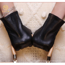 ZF5788 Gants en cuir noir neuf en style design classique en hiver