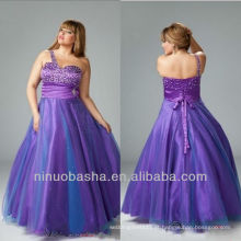 Purple A Line Beaded One Shoulder Pavimento Comprimento Evening Dress / Plus Size Beaded Brooch Prom Dress