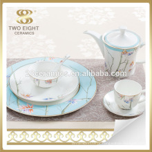 Conjunto de louça de cerâmica azul barato flor Guangzhou fábrica