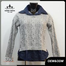 Frauen umgeworfener Kragen Pullover Pullover