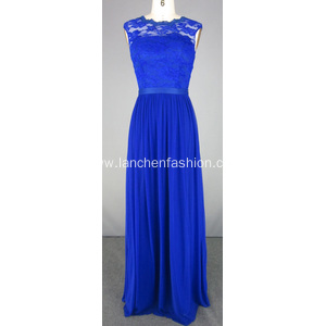 Royal Blue Evening Dress Gown with Lace Bodice