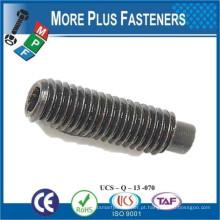 Feito em Taiwan Hex Drive Acabamento de óxido preto Liga de aço Plain Point Socket Set Screw com Full Half Dog Point