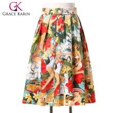 Grace Karin Women Plus Size Vintage Skirt Pinup 50S 60S Cotton Skirt Autumn Skirts Dance Vestidos CL6294-7#