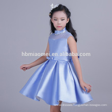 Breathable Feature and Children Age Group Pure Color Light Blue Girl Child Dress