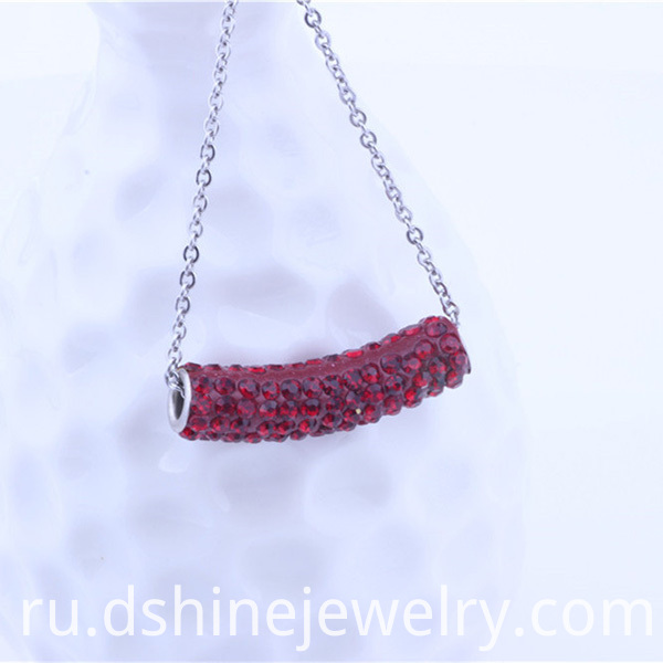 Tube Shamballa Pendant Necklace