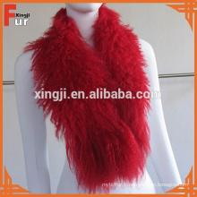 Cheveux longs bouclés col de fourrure d'agneau mongol