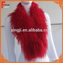Encaracolado longo cabelo mongol cordeiro pele gola