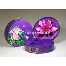 Luxury Cosmetic Packaging Round Paper Box with Metal Handle Lock