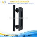 puerta de granero mango de acero al carbono / manija de la puerta negra