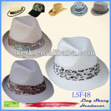 LSF48, White Ribbon Fabric Fedora stop from the sunlight sun hat