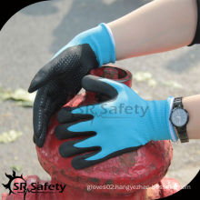 SRSAFETY blue foam colored nitrile gloves with nitrile dots