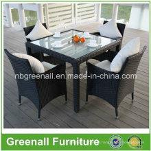 Rattan mesa de restaurante e cadeira