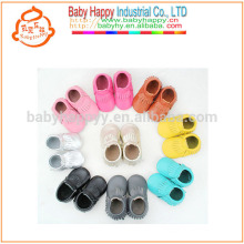 Newborn baby moccasins shoes pure color kids pre-walker shoes