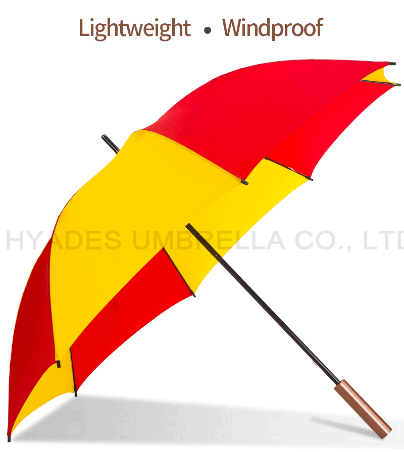 Yellow And Red Manual Open Straight Umbrella