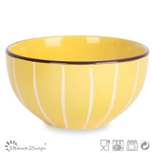 Multi-Color esmaltado con la línea blanca Tazón de arroz de cerámica