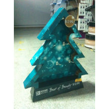 Christmas Tree Design Economy Cardboard Counter Displays Box With Pegs For Promotion