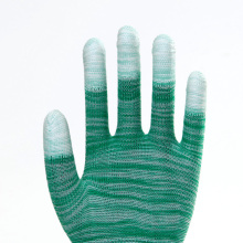 Polyester PU Coated Striped Firm Safety Gloves
