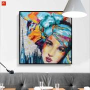 Las mujeres enfrentan la pintura al óleo decorativa del estallido del retrato
