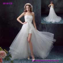 Старинные кружева аппликация элегантный Белый короткое платье с ruched тюль свадебное платье