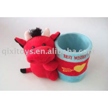 stuffed and plush cow animal pencil holder