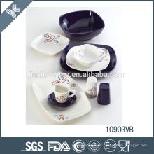 cena de porcelana de Navidad blanca y morada decora el juego de cena de cerámica