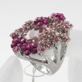 Fashion exquisite rhinestone flower shape ring with Cubic zirconium inlay fashion jewelry for women