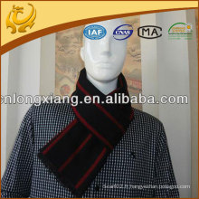Mens Fashion Black Red Stripes Silk Jacquard Neckchief