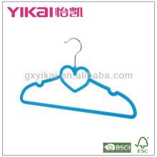 heart shape cheap space saving velvet coated ABS plastic hanger
