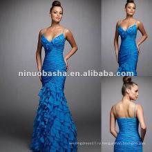 Длинные Спагетти Ремень Ruched Шифон Вечернее Платье Мода 2012