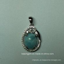 Pingente de prata esterlina joias naturais Larimar (P0350)