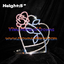 Red Crystal Rose Shaped Valentines Crowns
