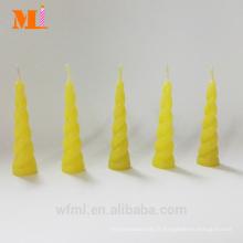 Bougie de licorne jaune de citron de moule propre de première classe pour la vente en gros de gâteau