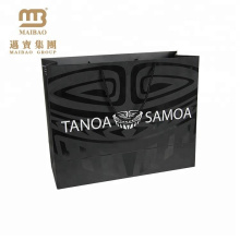 Custom Black Boutique Retail Clothes Carry Packaging Paper Shopping Bag With UV Printing
