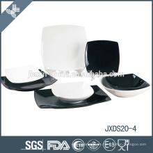elegante juego de cena de porcelana italiana blanca y negra