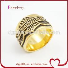 Mens ouro rei anel de aço inoxidável atacado