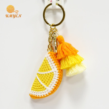 Atacado de Crochet Orange Key Chain Accessories