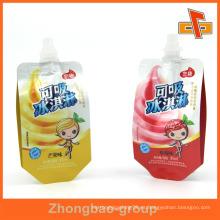 Impresión en hilatura bolsa de embalaje de jugo de fruta con pico 90ml 120ml 200ml