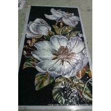 Carrelage mural en mosaïque en verre de motif de fleurs (HMP820)