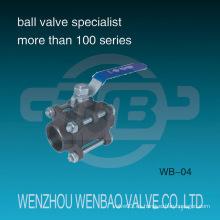 Válvula de bola de acero de carbono de tres piezas hembra roscada